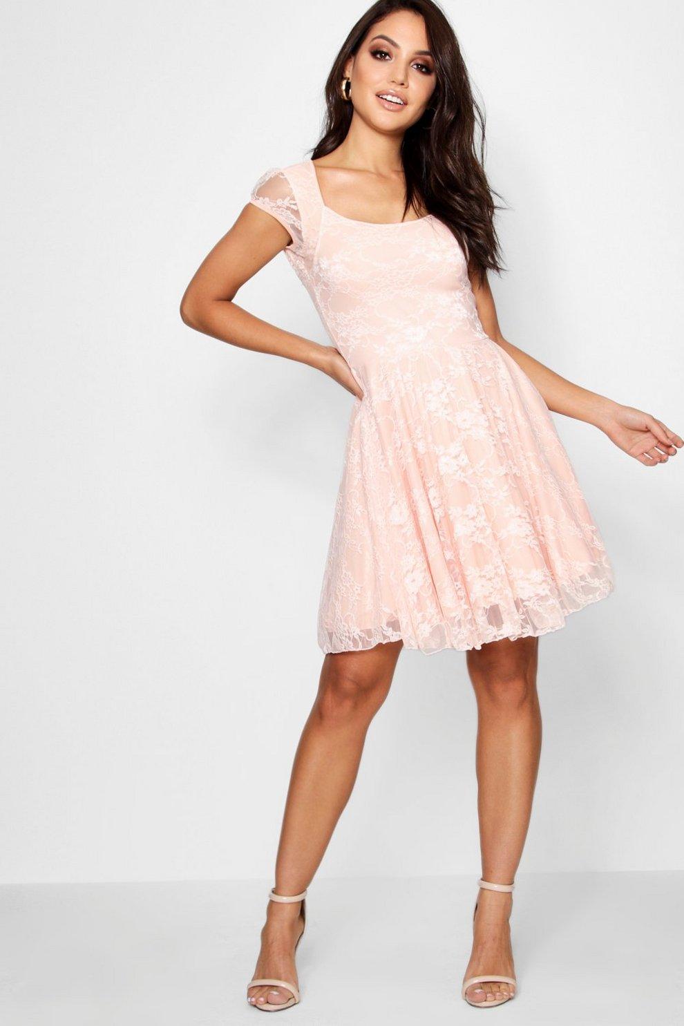87d0b293eaba Cap Sleeve Lace Skater Dress
