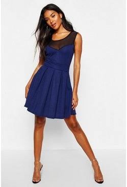 Womens Navy Skater Dress