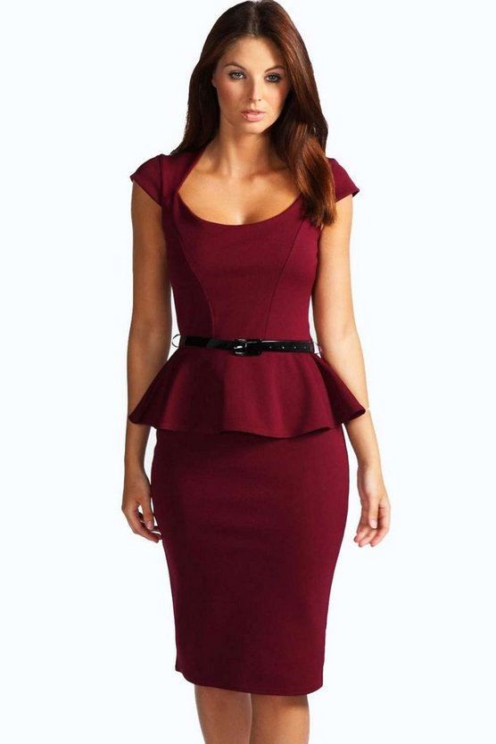 Womens Berry Keeley Peplum Belted Midi Dress