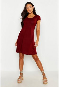 Berry Jersey Cap Sleeve Skater Dress