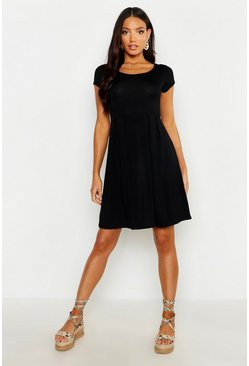 Jersey Cap Sleeve Skater Dress