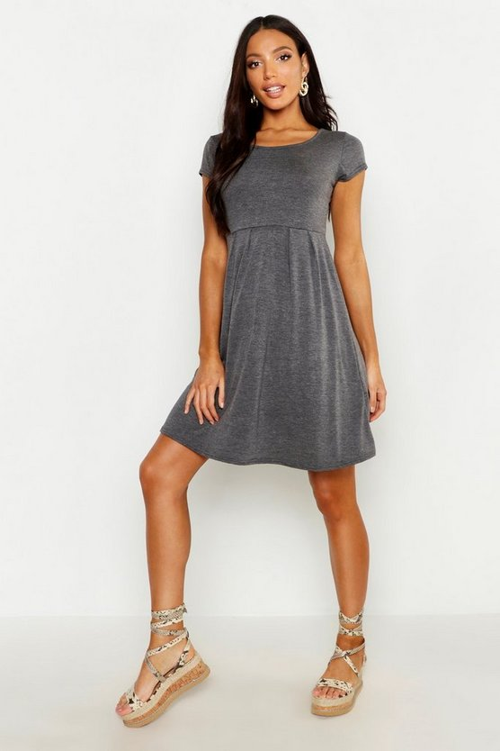 Charcoal Jersey Cap Sleeve Skater Dress