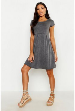 Womens Jersey Cap Sleeve Skater Dress