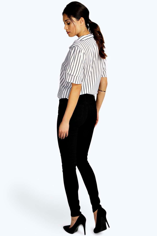Jeans skinny negro tubo alta de cintura R0azqwR