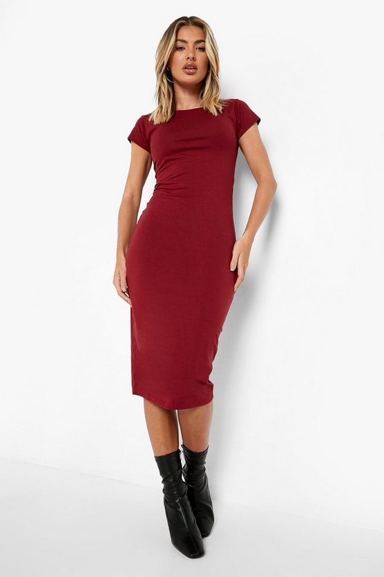 Berry Cap Sleeve Jersey Bodycon Midi Dress