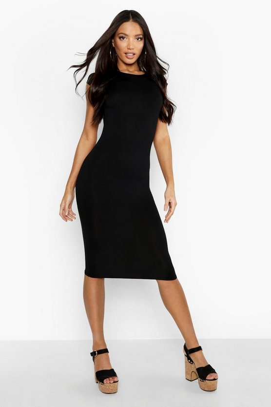 Black Cap Sleeve Jersey Bodycon Midi Dress