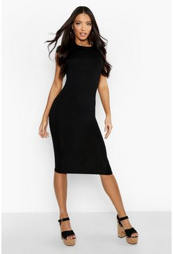 Womens Black Cap Sleeve Jersey Bodycon Midi Dress