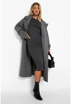 Womens Charcoal Cap Sleeve Jersey Bodycon Midi Dress