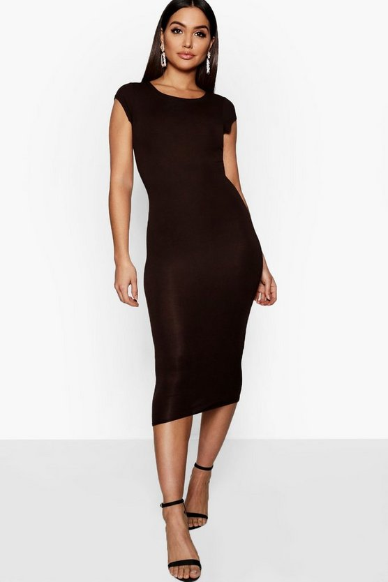 Womens Chocolate Cap Sleeve Jersey Bodycon Midi Dress