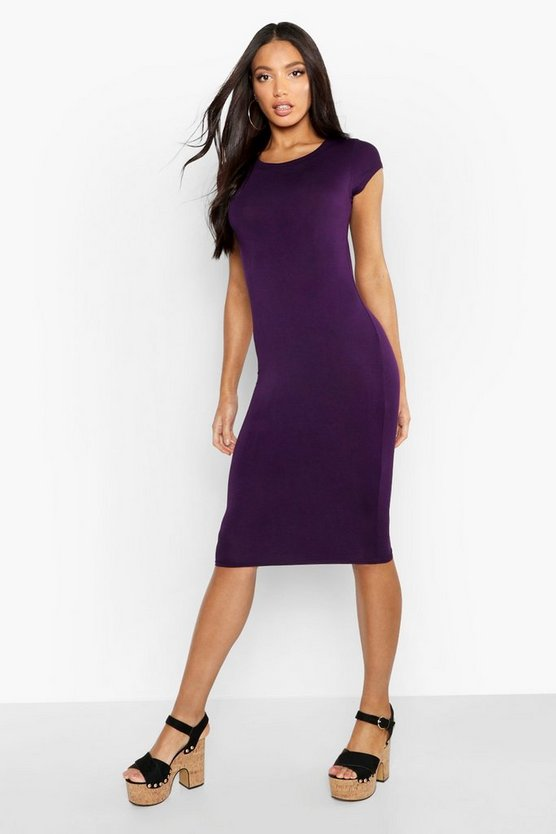 Womens Grape Cap Sleeve Jersey Bodycon Midi Dress