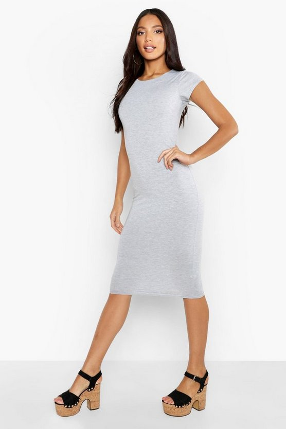 Womens Grey marl Cap Sleeve Jersey Bodycon Midi Dress