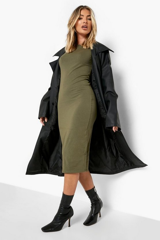 Khaki Cap Sleeve Jersey Bodycon Midi Dress
