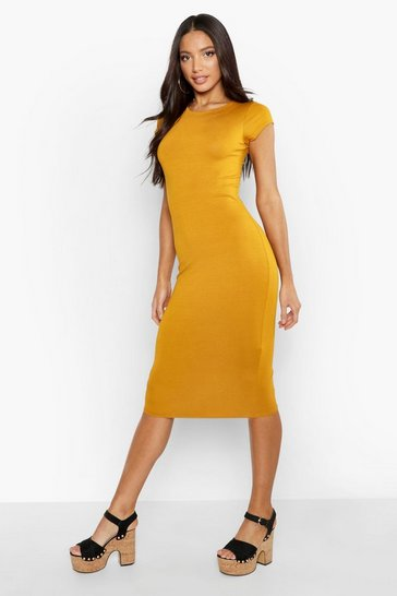 Womens Mustard Cap Sleeve Jersey Bodycon Midi Dress