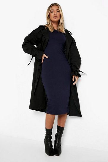 Navy Cap Sleeve Jersey Bodycon Midi Dress
