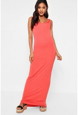 Womens Orange Maxi Dress