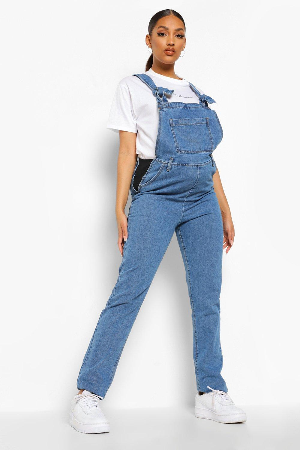 Vintage Maternity Clothes History Womens Maternity Denim Tie Strap Dungarees - Blue - 12 $25.00 AT vintagedancer.com