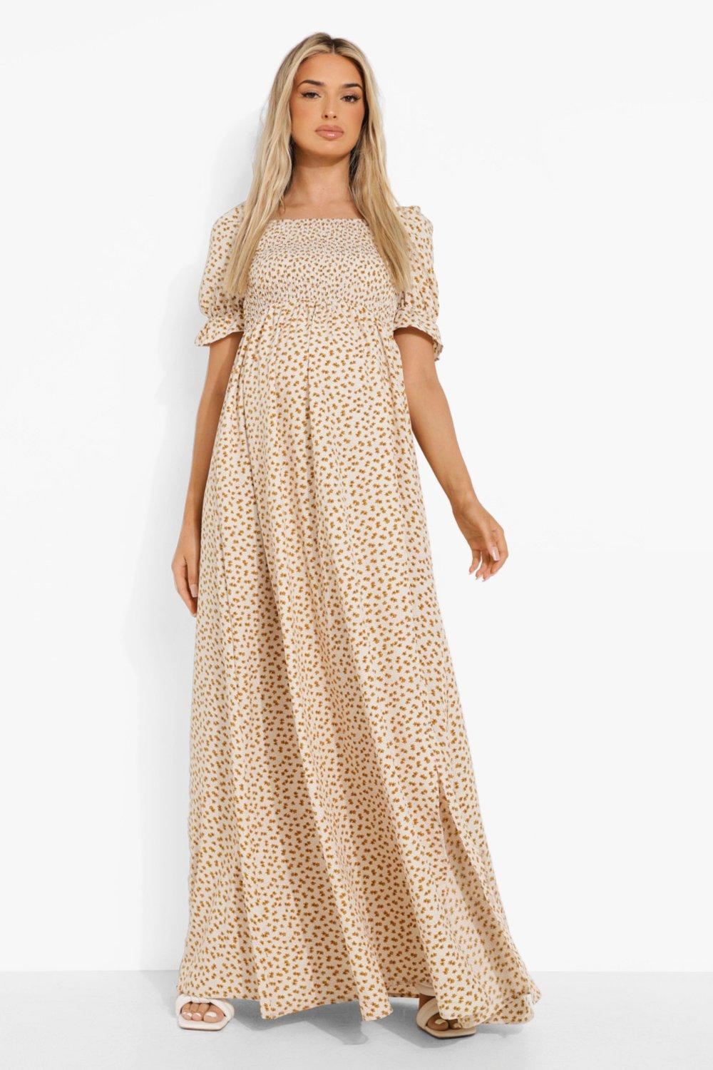 Vintage Maternity Clothes History Womens Maternity Floral Square Neck Maxi Dress - White - 12 $20.00 AT vintagedancer.com