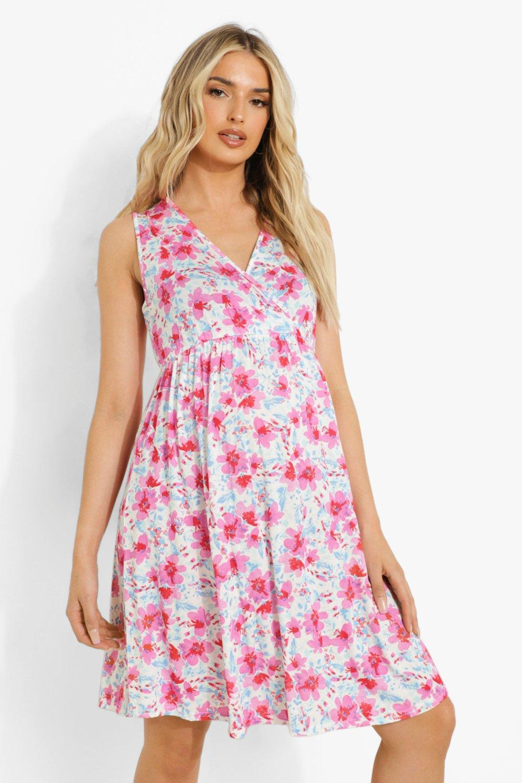 Vintage Maternity Clothes History Womens Maternity Floral Wrap Front Smock Dress - Pink - 12 $14.40 AT vintagedancer.com