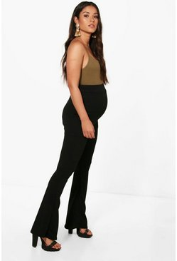 Womens Black Maternity Stretch Skinny Flare Trouser