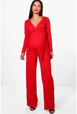 Womens Maternity Tie Front Plunge Jumpsuit