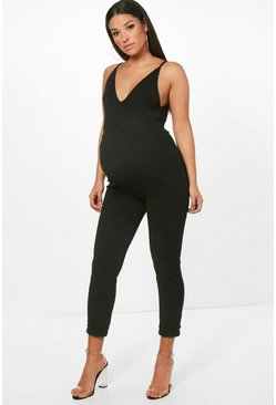 Womens Black Maternity Turn Up Cuff Trouser