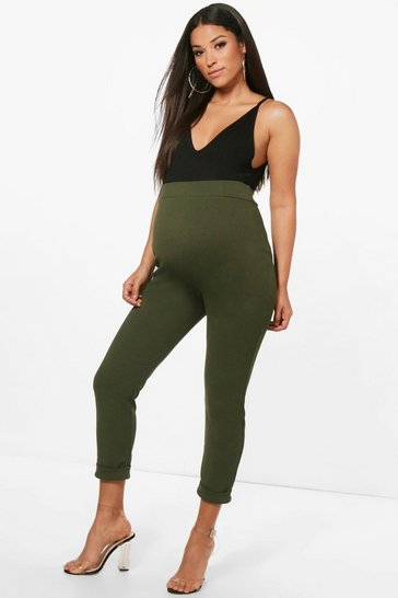 Womens Khaki Maternity Turn Up Cuff Trouser