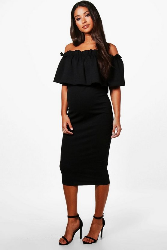 Womens Maternity Off Shoulder Ruffle Midi Dress