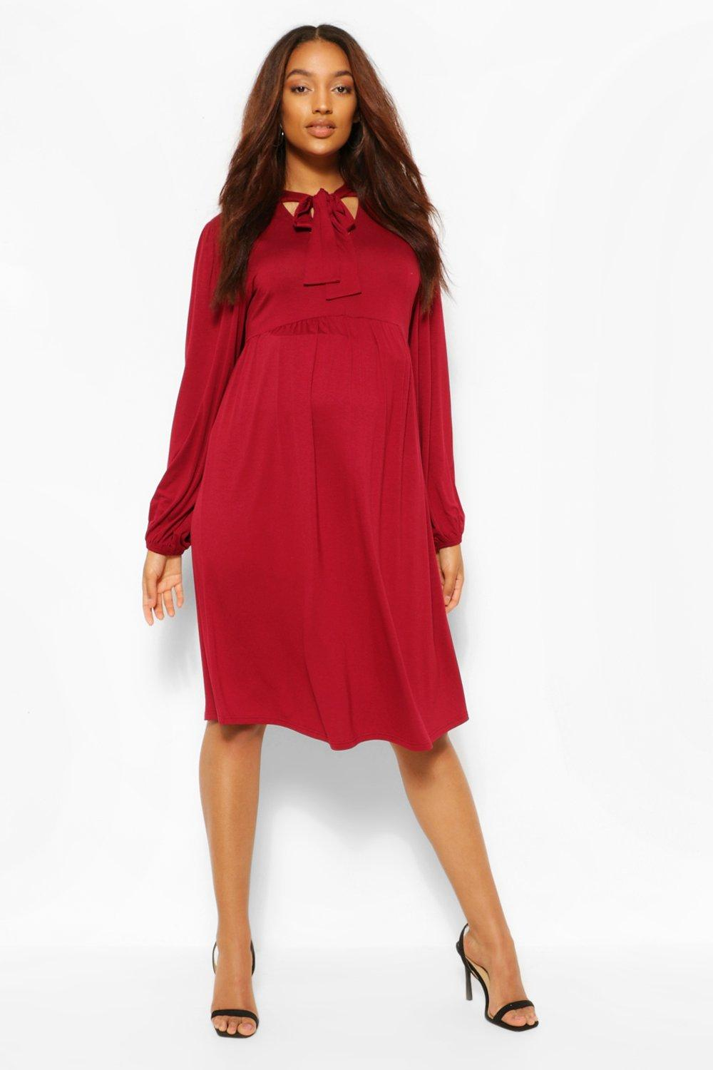 Vintage Maternity Dresses and Clothes Womens Maternity Tie Neck Drape Sleeve Smock Dress - Red - 12 $12.00 AT vintagedancer.com