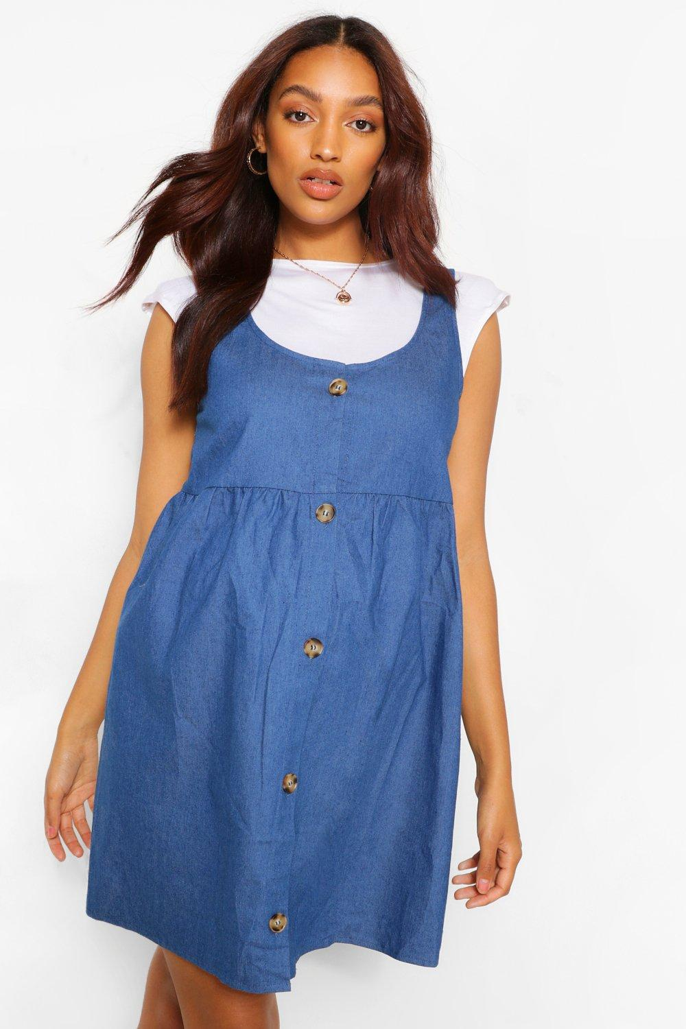 Vintage Maternity Dresses and Clothes Womens Maternity Button Chambray Smock Pinafore Dress - Blue - 12 $19.20 AT vintagedancer.com