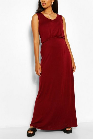 Wine Maternity Scoop Neck Shirred Maxi Dress