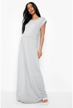 Grey Maternity Cap Sleeve Shirred Waist Maxi Dress