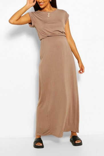 Mocha Maternity Cap Sleeve Shirred Waist Maxi Dress