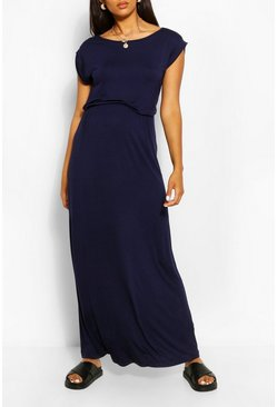 Navy Maternity Cap Sleeve Shirred Waist Maxi Dress