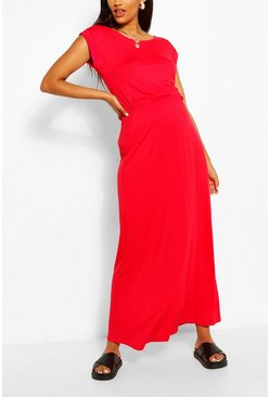 Red Maternity Cap Sleeve Shirred Waist Maxi Dress