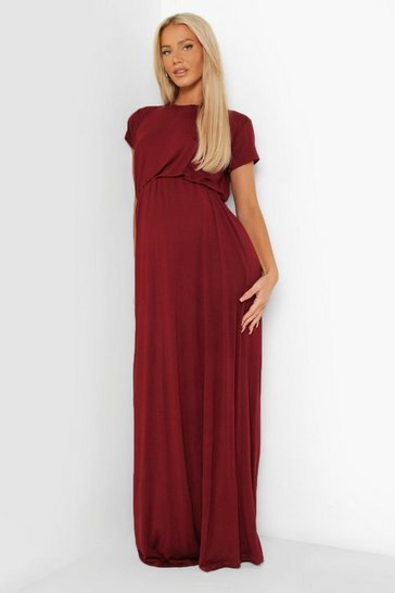 Wine Maternity Cap Sleeve Shirred Waist Maxi Dress