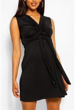 Black Maternity Knot Front Mini Dress