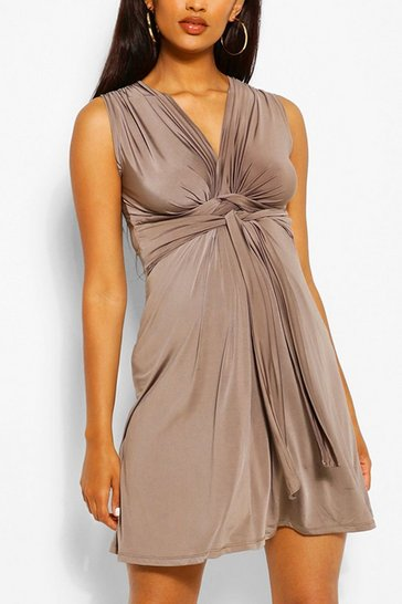 Mocha Maternity Knot Front Mini Dress