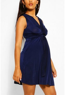 Navy Maternity Knot Front Mini Dress