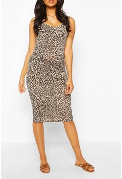 Tan Maternity Leopard Print Midi Bodycon Dress