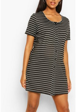 Black Maternity Stripe Button Front Nightie