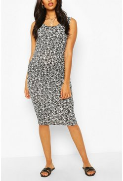 White Maternity Scoop Neck Ditsy Floral Midi Dress