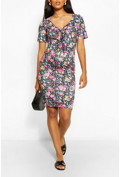 Black Maternity Tie Front Floral Midi Dress