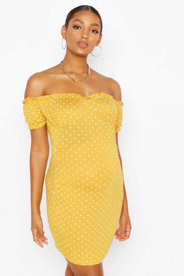 Mustard Maternity Polka Dot Sundress