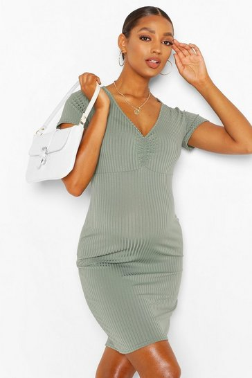 Khaki Maternity Ruched Front Midi Bodycon Dress