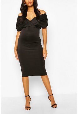 Black Maternity Off The Shoulder Ruched Midi Dress