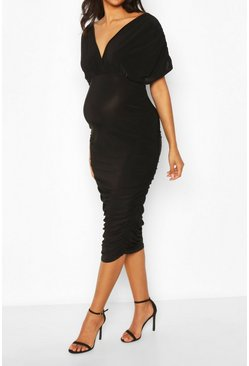 Black Maternity Ruched Side Wrap Midi Dress