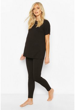 Ensemble lounge de maternité legging et T-shirt coupe oversize, Noir