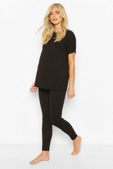 Black Maternity Oversized Tshirt & Legging Lounge Set