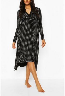 Black Maternity Polka Dot Nursing Nightie & Robe Set
