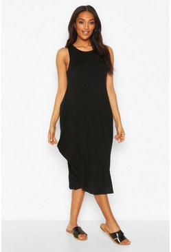 Black Maternity Drape Midi Dress
